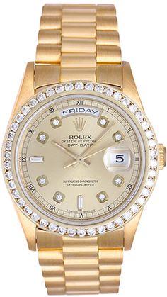 Rolex President Day-Date Men's 18k Yellow Gold Diamond Watch 18238