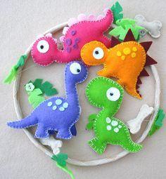 Dinossauro Felt babys Móvel crianças móvel por FlossyTots