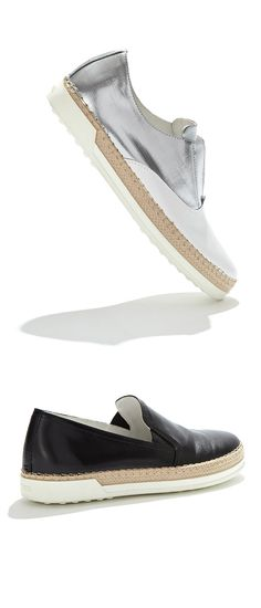 Take a long drive in these sporty espadrille sneaker hybrids from Tod's.