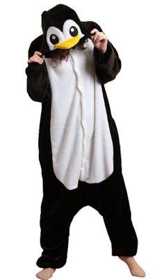 iKneu Pingouin Unisexe Kigurumi Pyjamas Ensemble de Costume Cosplay Animaux Pyjamas pour Halloween Noel