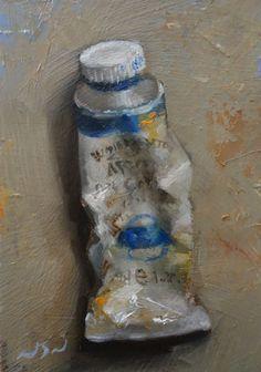 Original Oil Painting - Cobalt Blue - Contemporary Miniature Still Life Art
