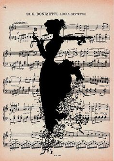 Vintage Sheet Music with Silhouette Background Art Painting, Sheet Music Art, Art Music, Vintage Sheet Music, Book Page Art, Art, Music Drawings, Music Artwork, Artist Community