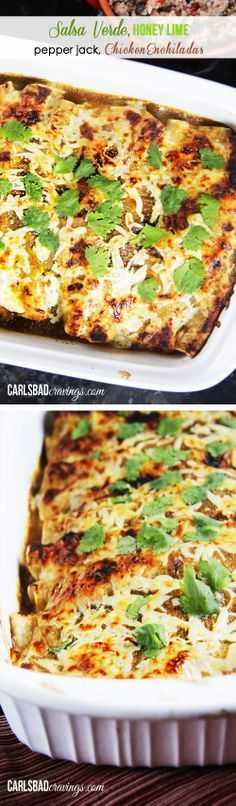 USBAND'S FAVORITE RECIPE EVER! Salsa Verde Honey Lime Pepper Jack Chicken Enchiladas - dripping with flavor and so fast and easy!