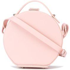 Nico Giani circular shoulder bag (£345) ❤ liked on Polyvore featuring bags, handbags, shoulder bags, pink, genuine leather purse, pink shoulder bag, pink leather purse, pink purse and circle purse