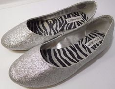 483233bcbef Steve Madden Jpheaven Ballerina Flat Silver Glitter US Size 5M NEW   SteveMadden  Ballerinas