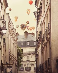 hot air balloons over paris.