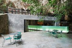 Mallorca's Glowing Green Cave Bar by A2 Arquitectos - Love it! Looks like it's so relaxing..