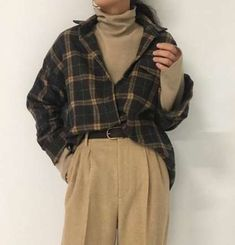 brown checked shirt turtleneck trousers black belt autumn fall casual outfits clothes korean fashion school street everyday comfy aesthetic soft minimalistic kawaii cute g e o r g i a n a : c l o t h e s Mode Outfits, Retro Outfits, Grunge Outfits, Winter Outfits, Vintage Outfits, Casual Outfits, Dress Casual, Dress Outfits, Fashion Dresses