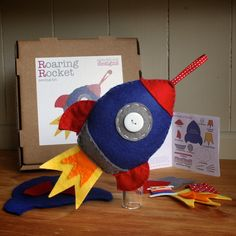 Sewing Kit - Roaring Rocket handmade felt sewing kit (includes everything you need, no fabric cutting required) Made in the UK