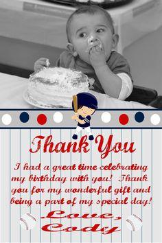 baseball theme b-day party thank you's