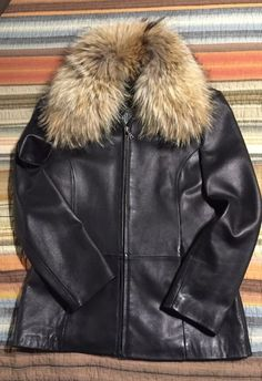 Lambskin Leather Jacket with Removable Fox Fur Collar, Women's Size M #Tiboa #Jacketwremovablefurcollarandliner