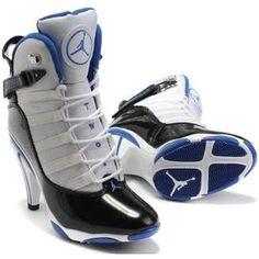 Womens Air Jordan Retro 7 High Heels Black Blue II shoes