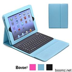iPad Pro Keyboard Case Bovon Wireless Bluetooth Removable Folio Keyboard Case for iPad Pro Leather Ultra Slim Smart Case Multi Angle Stand Cover with Magnetically Detachable Keyboard (blue)