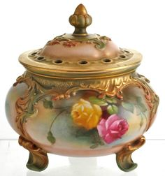Royal Worcester Pot Pourri Vase & Cover with Handpainted Rose,s C1907