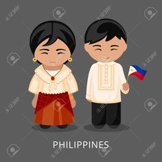 Illustration of Filipinos in national dress with a flag. Man and woman in traditional costume. Travel to Philippines. vector art, clipart and stock vectors. Philippines Travel, Philippines People, Tattoo Background, Costumes Around The World, School Frame, Banner Printing, Preschool Classroom, Wooden Dolls, People Of The World