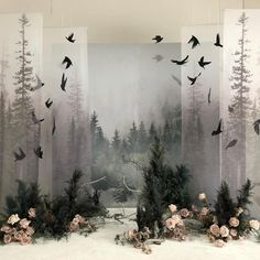 Ghost Forest, a Patti Barker Nuno felt set up barker felt forest ghost set up patti artdrawingssimple – Her Hook Stage Design, Event Design, Visual Merchandising, Flower Installation, Wedding Altars, Retail Design, Event Decor, Wedding Designs, Wedding Decorations