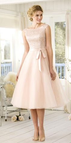 83.99  Charming Sequin Lace   Tulle Bateau Neckline Tea-length A-line  Bridesmaid Dresses With Belt. Tulle Bridesmaid DressShort ... 4b018ba34460