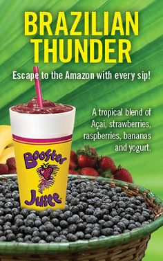 Booster Juice's Brazilian Thunder. Yummy Smoothies, Juice Smoothie, Detox Diets, Vitamix Recipes, Healthy Options, Diet And Nutrition, Juicing, Thunder, Juice