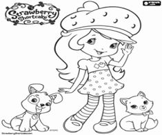 Strawberry Shortcake with her pets coloring page