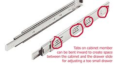 What are Full Extension Drawer Slides? Full extension drawer slides as referred to in this tutorial are Diy Furniture Projects, Home Projects, Woodworking Projects, Modern Furniture, Furniture Design, Clutter Organization, Home Office Organization, Organization Ideas, White Farmhouse Table