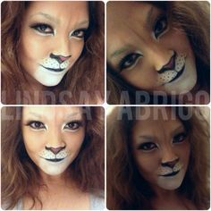 Here kitty, kitty. Take MUA: Lindsay Abrigo (Me! Narnia Costumes, Scary Halloween Costumes, Halloween Makeup Looks, Diy Costumes, Lion Halloween Costume, Couple Halloween, Halloween Cosplay, Halloween Kids, Lioness Costume