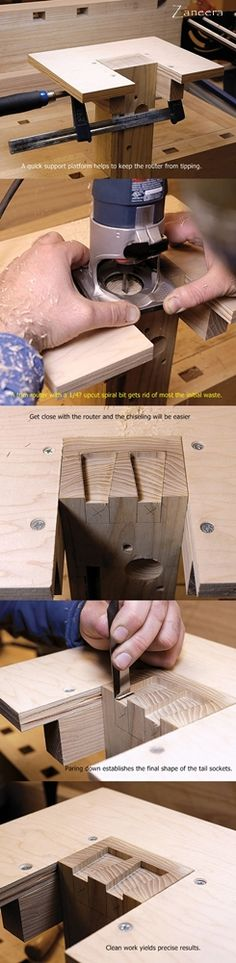 Dovetails Step by Step. Part 3A : Rout this Way. http://www.quiet-corner.com/diy/make-dovetails-step-by-step-guide/