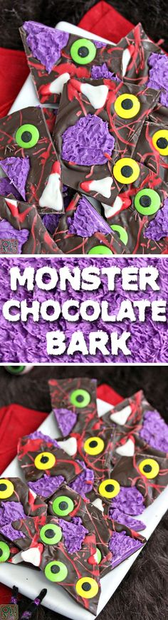 This Monster Chocolate Bark is an easy, creepy Halloween candy recipe that's sure to be a hit with all the ghosts and goblins in your life!    Halloween is