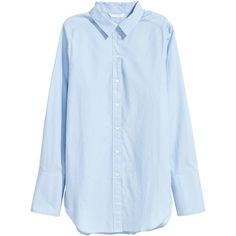 H&M Wide-cut Cotton Shirt $14.99 (200.085 IDR) ❤ liked on Polyvore featuring tops, blue long sleeve shirt, button collar shirt, button shirt, blue top and blue button-down shirts