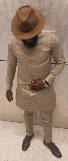 Men's African Wear Beige Suit African Print African