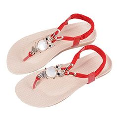 a449302f954 Encounter Women s Beads Owl Flat Bohemia T-Strap Elastic Slingback Thong  Sandals Review T Strap