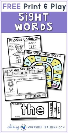 Sight Words Strategies and Resources Free pack of print and play sight word printables!Free pack of print and play sight word printables! Basic Sight Words, Teaching Sight Words, Sight Word Practice, Sight Word Games, Sight Word Activities, Phonics Activities, Reading Activities, Sight Word Spelling, Reading Games