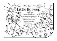 Mary mary contrary nursery rhyme coloring page with for Little bo peep coloring pages