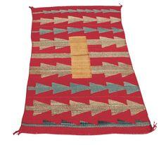 "Navajo double saddle with barbwire design; diagonal weave – wedge weave style. 33"" x 55""PERIOD: Circa 1920sORIGIN: Navajo, SouthwestSIZE: 33"" x 55"""