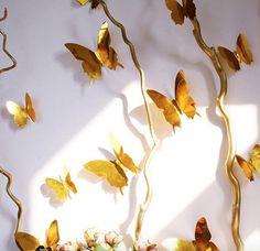 Muursticker losse 3d vlinders (goud). Bestel ze nu op www.stickerkamer.nl