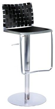 Adjustable Height Swivel Stool in Black Rgn. Leather - modern - bar stools and counter stools - AllModern.  $190