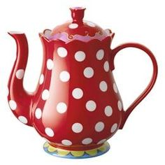 oilily theepot ~ Anything with polk-a-dots I LOVE! Chocolate Pots, Chocolate Coffee, Teapots And Cups, My Cup Of Tea, Tea Time, Tea Party, Red And White, Tea Cups, Polka Dots