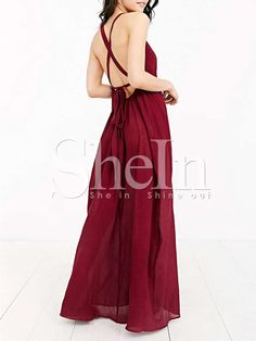 Shop Wine Red Cross Back Maxi Dress online. SheIn offers Wine Red Cross Back Maxi Dress & more to fit your fashionable needs.