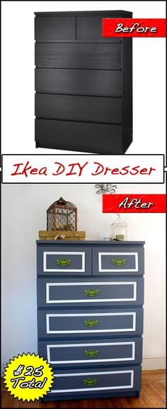 Before & After: DIY Ikea dresser redo for only $25 (minus the dresser)