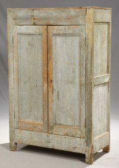 French Provincial Carved Pine Double Door Cupboard