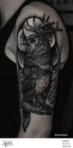 Robert Borbas Tattoo   @ grindesign - Horned Owl #neotraditional #halfsleeve