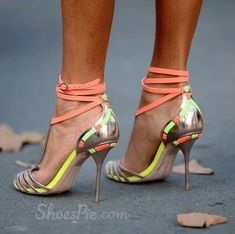 Exquisite Contrast Color Straps Dress Sandals
