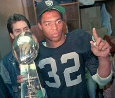 Oakland Raiders Marcus Allen | As a professional, Allen ran for 12,243 yards and caught 587 passes for 5,412 yards during his career for both the Los Angeles Raiders and the Kansas City Chiefs from 1982 to 1997. He scored 145 touchdowns, including a then league record 123 rushing touchdowns, and was elected to six Pro Bowls over the course of his career.