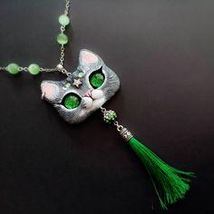 Custom order *** Fantasy Necklace Cat - Pet Portrait OOAK Pendant by FleurDeLapin on Etsy