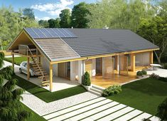Projekt domu Eryk (z wiatą) 89,19 m² - koszt budowy - EXTRADOM Simple House Design, Modern House Design, House Plans Mansion, Modern Barn House, Bungalow Renovation, Bungalow Homes, Weekend House, My Ideal Home, Shed Homes