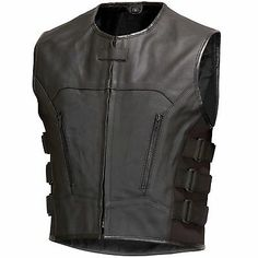 Men Bullet Proof style Leather Motorcycle Vest for bikers social and car clubs