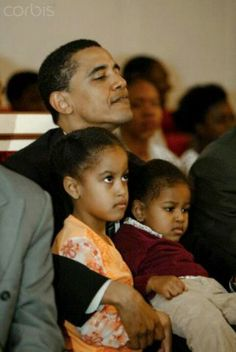 President Barack Obama With Malia Sasha Obama.