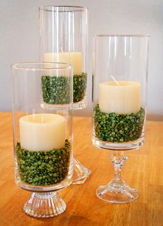 Easy Thrifty Hurricane Centerpieces for St. Patrick's Day! : My quest to shop smarter and save more! Hurricane Centerpiece, Diy Centerpieces, Centrepieces, Hurricane Lamps, Quinceanera Centerpieces, Everyday Table Centerpieces, Inexpensive Centerpieces, Dining Centerpiece, Easter Centerpiece