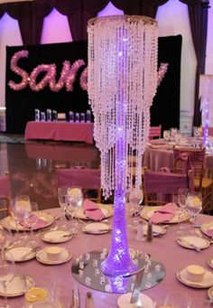Custom Chandelier Centerpiece with Aqua Gems & Lights Chandelier Centerpiece, Table Centerpieces, Wedding Centerpieces, Sweet 16 Birthday, Birthday Parties, 70th Birthday, Birthday Ideas, Sweet Sixteen Decorations, Balloon Dance
