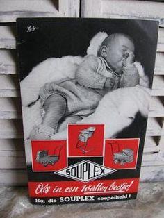 Oude reclame flyer - Souplex kinderwagen / België