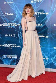 """Emma Stone wears a charming Prada gown to the NYC premiere of """"The Amazing Spider-Man 2."""""""